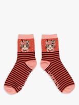 Powder Floral Cat Print Ankle Socks, Tangerine/Multi