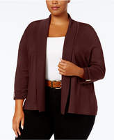 JM Collection Plus Size Cropped Ruched-Sleeve Cardigan, Created for Macy's