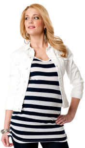 A Pea in the Pod 7 For All Mankind Signature Pocket Plain Weave Denim Maternity Jacket