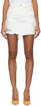 Moussy White Denim Ripliy Miniskirt