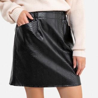 Molly Bracken Faux Leather Mini Skirt in Faux Snakeskin with Pockets