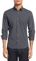 Stone Rose Men's Trim Fit Geometric Pattern Sport Shirt
