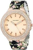 Vernier Women's VNR11167BK Rhinestone-Accented Rose Gold-Tone Watch