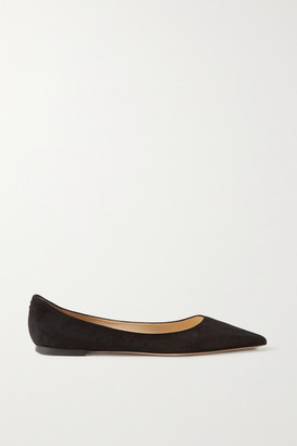 Jimmy Choo Love Suede Point-toe Flats - Black