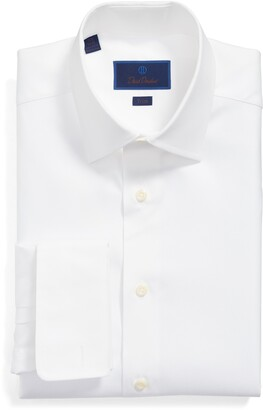 David Donahue Trim Fit Solid French Cuff Cotton Dress Shirt