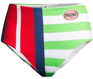 Moschino Multi-Stripe Hipster Bikini Bottom
