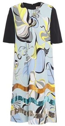 Emilio Pucci Sequin-embellished Printed Stretch-crepe Mini Dress