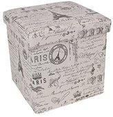 SONGMICS Folding Storage Ottoman Cube Footrest Seat Script Pattern ULSF30X