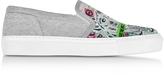 Kenzo Melange Gray Flyer Tiger Slip On Sneakers