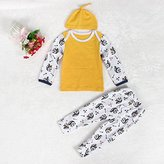 1Set Newborn Baby Boy Girl Cat Printed Long Sleeve Tops +Long Pants Outfits (3-6M, Yellow)