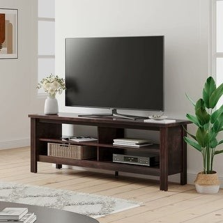 Wampat Farmhouse TV Stand for 65 inch TV Wood Media Console