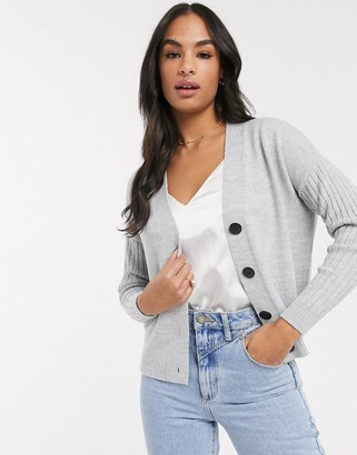 ASOS DESIGN chunky cardigan with ribbed sleeve