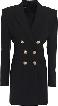 Balmain Button-embellished Wool-blend Crepe Mini Dress