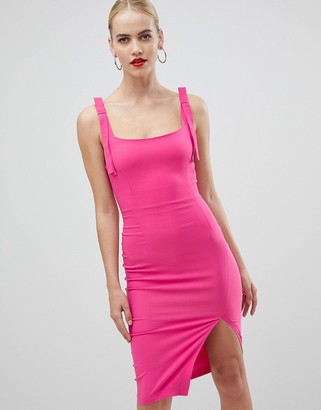 Vesper square neck with tie detail pencil dress with cut out back in pink