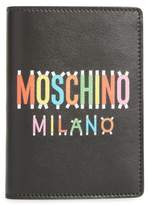 Moschino Paper Doll Multi Logo Leather Passport Case - Black