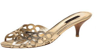 Louis Vuitton Metallic Gold Laser Cut Leather Slide Sandals 38.5