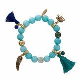 Natasha Accessories Natasha Bead & Charm Gold-Tone Stretch Bracelet