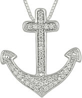 FINE JEWELRY 1/4 CT. T.W. Diamond Sterling Silver Cross Anchor Pendant Necklace