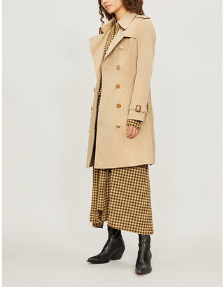 Burberry Womens Beige Check The Heritage Chelsea Cotton-Gabardine Trench Coat, Size: 4