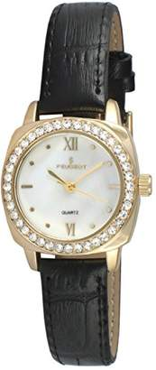 Peugeot Women's 14K Gold Plated Small Skinny Mother of Pearl Crystal Dress Watch 3048G