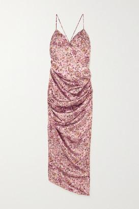 Raquel Diniz Kate Ruched Floral-print Silk-satin Maxi Dress - Pink