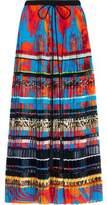 Roberto Cavalli Paneled Pleated Printed Silk Maxi Skirt