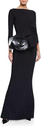 Chiara Boni 3/4-Sleeve Rosette Peplum Gown