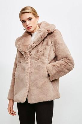 Karen Millen Wide Collar Faux Fur Jacket