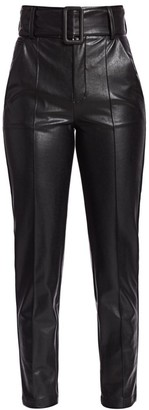 The Kooples High-Waist Belted Faux-Leather Pants