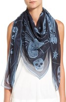 Alexander McQueen 'Zodiac' Skull Print Silk Scarf