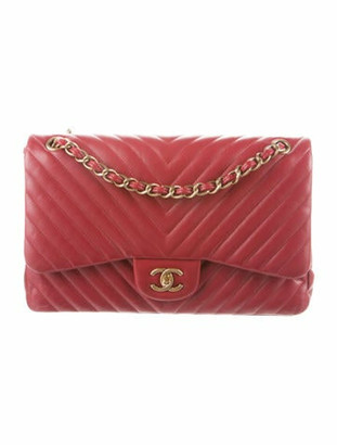 Chanel Chevron Jumbo Double Flap Bag gold
