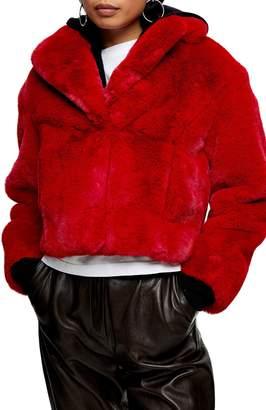 Topshop Faux Fur Crop Jacket
