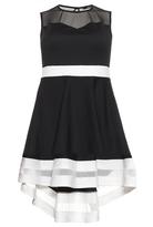 Quiz Curve Black and Cream Mesh Dip Hem Dress