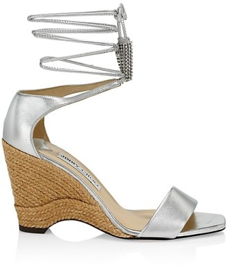 Jimmy Choo Deva Ankle-Wrap Metallic Leather Wedges