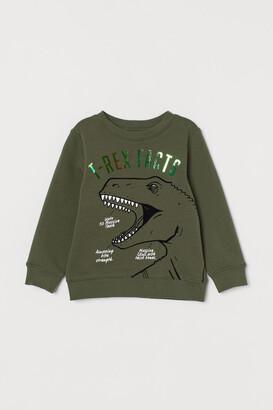H&M Printed Sweatshirt - Green