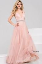 Jovani Bead Embellished V-Neck Tulle Ball Gown 45160
