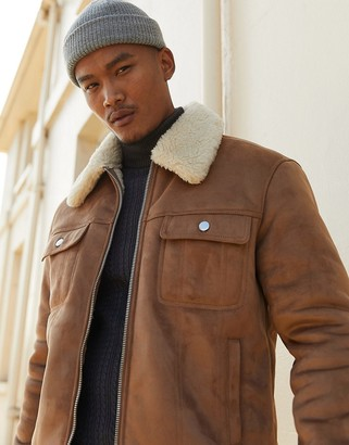 Asos Design DESIGN faux suede western jacket in tan with teddy lining