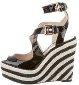 Brian Atwood Patent Leather Wedge Sandals