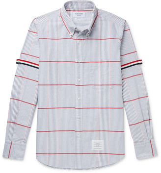 Thom Browne Button-Down Collar Checked Supima Cotton Oxford Shirt