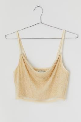 Urban Outfitters Allegra Beaded Cropped Cami - Beige L at