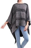 DELUXSEY Womens Striped Pullover Poncho Sweater (Charcoal Grey, Size L/XL) 11921CAN