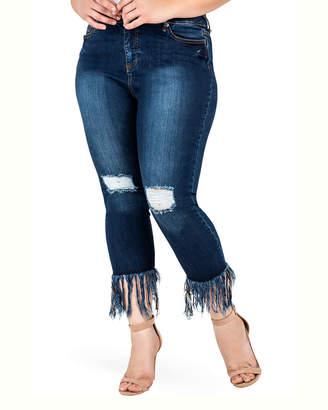 Standards & Practices Fringe Frayed Hem Distressed Stretch Premium Jeans