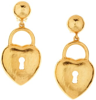 Oscar de la Renta Heart Lock Earrings