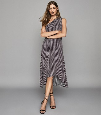 Reiss Nia - Printed Asymmetric Midi Dress in Berry