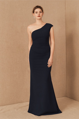 BHLDN Gerri One-Shoulder Crepe Dress