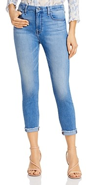 7 For All Mankind Jen7 by Cropped Frayed Skinny Jeans in Laquinta