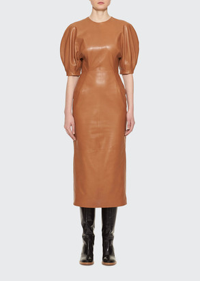 Gabriela Hearst Coretta Curved-Shoulder Leather Midi Dress
