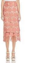 Alice + Olivia Strand Lace Midi Skirt