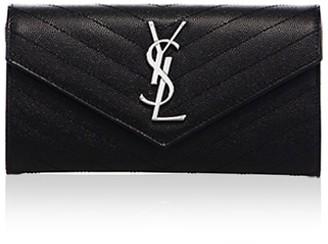 Saint Laurent Large Monogram Matelasse Leather Flap Wallet