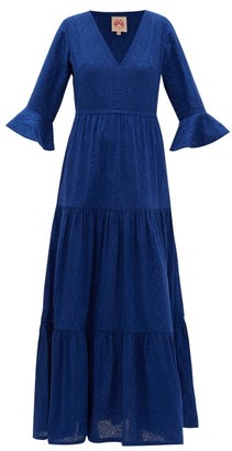 Le Sirenuse Le Sirenuse, Positano - Bella Broderie-anglaise Cotton Maxi Dress - Womens - Blue